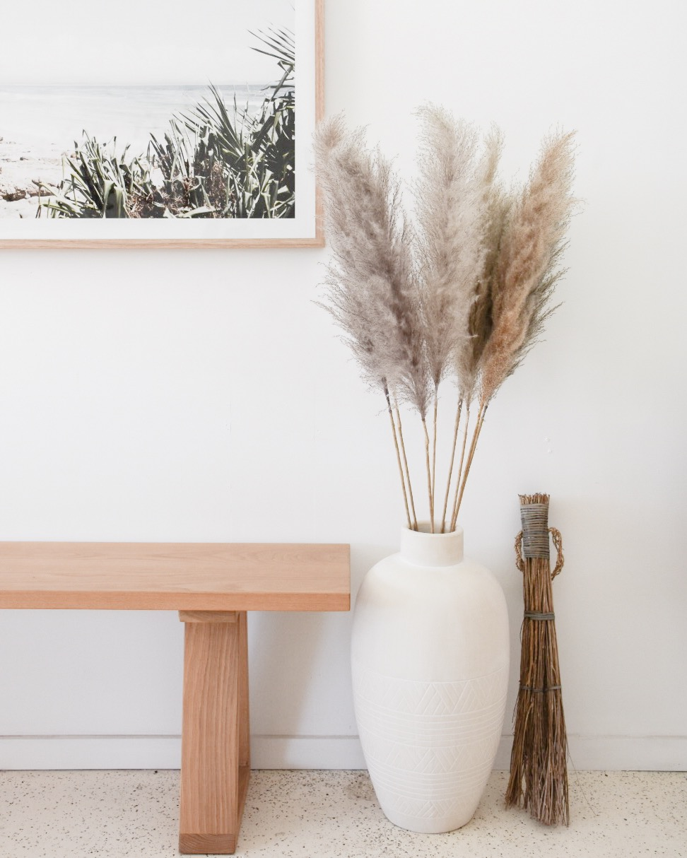 Large White Vase with Pampas Grass