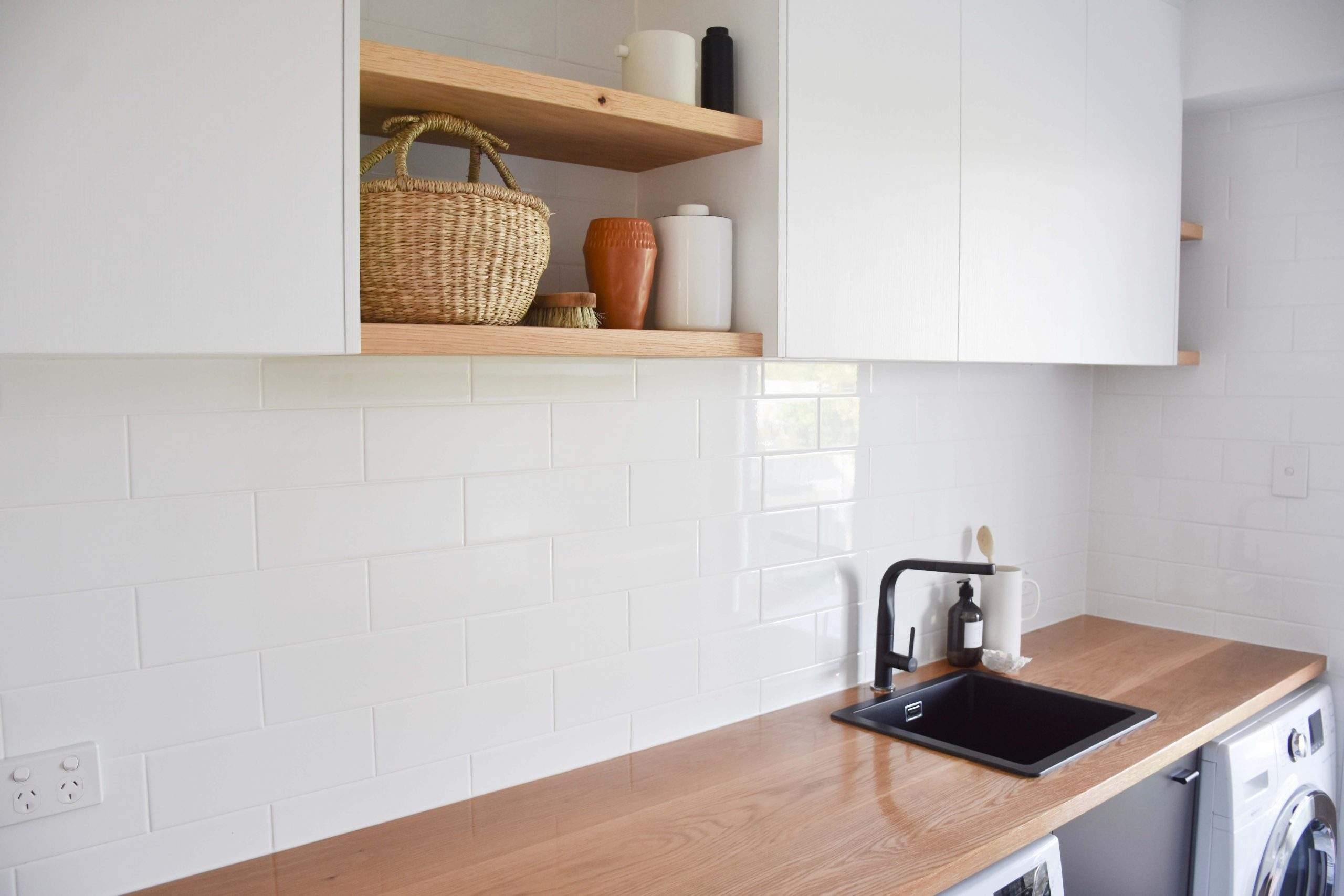 solid timber counter top laundry sunshine coast kitchen